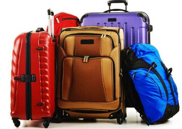 Сини, бели, червени и черни куфари за път